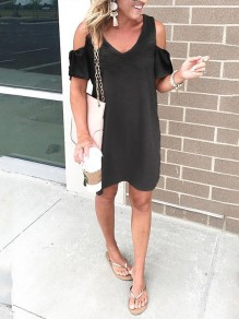 Black Cut Out V-neck Short Sleeve Going out Midi Dress