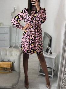 Pink Leopard Print Band Collar Fashion Chiffon Mini Dress