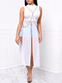 White Patchwork Grenadine Bodycon Casual Maxi Dress