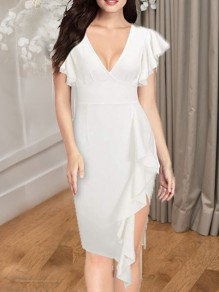 White Cascading Ruffle Side Slits V-neck Bodycon Elegant Party Maxi Dress