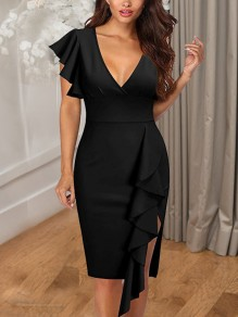Black Cascading Ruffle Side Slits V-neck Bodycon Elegant Party Maxi Dress