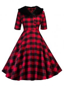 Red Plaid Print Buttons Fur Peter Pan Collar Midi Dress
