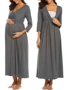 Grey Pleated V-neck 3/4 Sleeve Fashion Maternity Dress