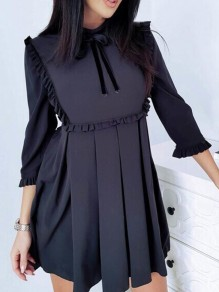 Black Ruffle Bow Pleated Band Collar Cocktail Party Mini Dress