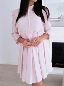 Pink Ruffle Bow Pleated Band Collar Cocktail Party Mini Dress