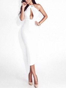 White Patchwork Cut Out Bodycon Round Neck Party Midi Dress
