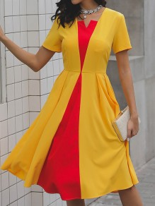 Yellow Red Patchwork Pleated Short Sleeve Elegant Homecoming Party Midi Dress