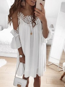 White Patchwork Cut Out Lace Condole Belt Three Quarter Length Sleeve Going out Mini Dress