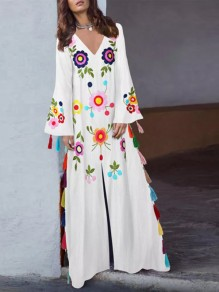 White Floral Embroidery Tassel Slit Mexican Bohemian Vintage Maxi Dress