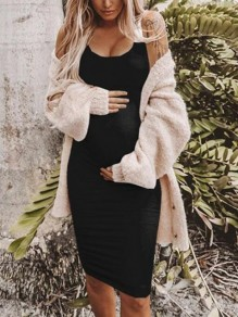 Black Pleated Deep V-neck Spaghetti Strap Bodycon Maternity Casual Midi Dress