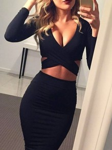 Black Cut Out Solid Wrap Knee Length V-neck Cocktail Party Bodycon Skater Two-Piece Dress