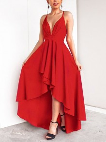 4da868b10fcd9 Red Condole Belt Draped Swallowtail Irregular Cross Back Tie Back Backless  Plunging Neckline Sleeveless Elegant Maxi