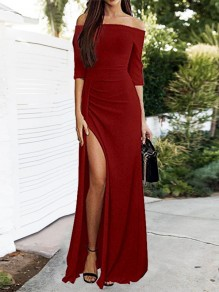 Red Patchwork Bright Wire Side Split Off Shoulder Elbow Sleeve Party Maxi Dress