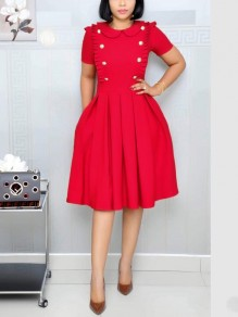 Red Buttons Ruffle Pockets Pleated Long Sleeve OL Elegant Party Maxi Dress
