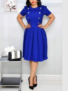 Blue Buttons Ruffle Pockets Pleated Long Sleeve OL Elegant Party Maxi Dress