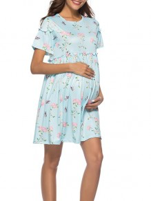 Light Blue Floral Print Lace Pleated Banquet Round Neck Fashion Maternity Dress