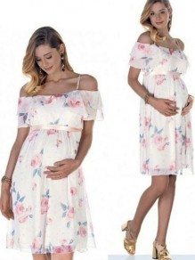 White Floral Print Off Shoulder Spaghetti Strap Tiered Chiffon Banquet Fashion Maternity Dress