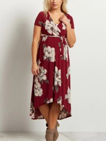 Burgundy Floral Wrap Sashes Belt High-low Big Swing Prom Evening Party Maternity Dress