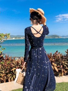 Deep Blue Galaxy Print Sparkly Tie Back Backless Sheer Sashes Long Sleeve Beach Prom Maxi Dress