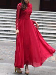 Red Patchwork Lace Ruffle Band Collar Party Maxi Dress