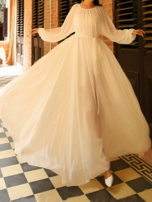 White Chiffon Draped Pleated Sashes Puff Sleeve Flowy Elegant Boho church Maxi Dress