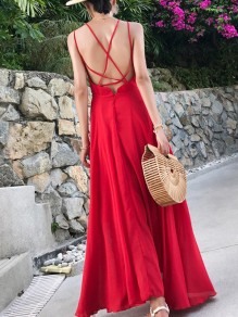Red Chiffon Draped Condole Belt Backless Cross Back V-neck Sleeveless Elegant Maxi Dress