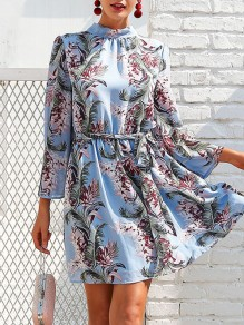 Blue Floral Print Sashes Lace Up Backless Flare Sleeve Sweet Mini Dress