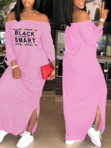 Pink Monogram Black And Smart Pattern Off Shoulder Side Slit Casual Maxi Dress