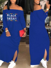 Blue Monogram Black And Smart Pattern Off Shoulder Side Slit Casual Maxi Dress