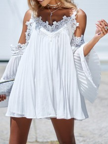 White Patchwork Lace Pleated Off Shoulder Backless V-neck Flare Sleeve Fashion Mini Dress