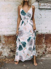 White Floral Leaves Drawstring Halter Neck Deep V-neck Boho Tropical Vacation Maxi Dress