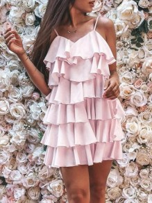 Pink Cascading Ruffle Spaghetti Strap Backless Cupcake Homecoming Banquet Holiday Party Mini Dress