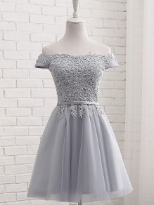 Grey Patchwork Lace Grenadine Boat Neck Elegant Party Bridesmaid Prom Homecoming Mini Dress