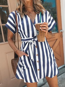 Blue White Striped Sashes Pockets Buttons V-neck Mini Dress
