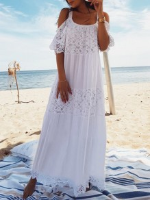 White Patchwork Lace Condole Belt Off Shoulder Beach Boho Maxi Dress