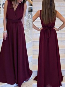 Dark Red Sashes Chiffon Deep V-neck Sleeveless Elegant Maxi Dress