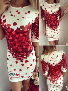 White Red Heart Monogram Print Fashion Sweet Mini Dress