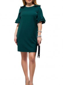 Green Ruffle Elegant Round Neck Short Flutter Sleeve Plus Size Mini Dress