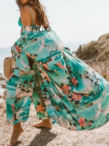 Green Crane Floral Print Sashes V-neck Short Sleeve Big Swing Sunscreen Beach Cover Up Maxi Dress