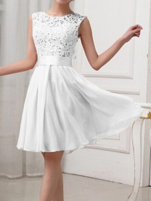 White Patchwork Lace Chiffon Zipper Draped Sleeveless Elegant Wedding Prom Homecoming Praty Midi Dress