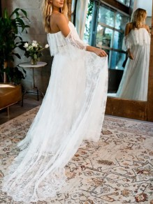 White Eyelash Lace Cut Out Bandeau Off Shoulder With Trailing Beach Wedding Gowns Formal Party Maxi Dress