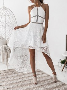 White Patchwork Lace Irregular Condole Belt Party Maxi Dress