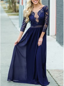 Sapphire Blue Patchwork Lace Cut Out 3/4 Length Sleeve Party Maxi Dress