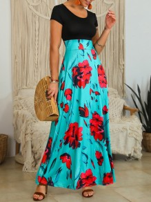 Blue Flowers Print Round Neck Short Sleeve Bohemian Maxi Dress