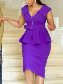 Purple Ruffle Zipper Belt Bodycon Peplum V-neck Elegant OL Party Maxi Dress