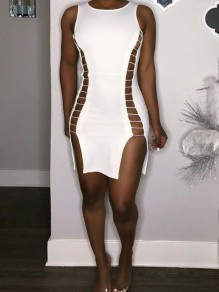 White Cut Out Lace-up Bodycon Side Slits Party Clubwear Mini Dress
