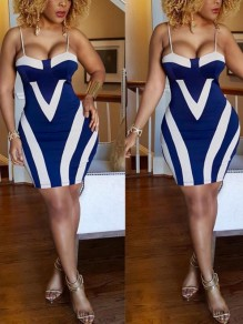 Blue-White Striped Spaghetti Strap Backless Bodycon Party Mini Dress