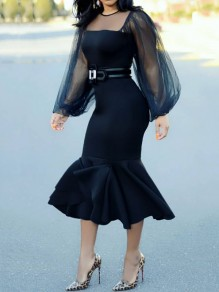 Black Patchwork Grenadine Bodycon Mermaid Long Sleeve Elegant Prom Evening Part Maxi Dress