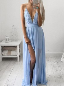 Sky Blue Chiffon Condole Belt Draped Pleated Irregular Side Slit V-neck Sleeveless Elegant Maxi Dress