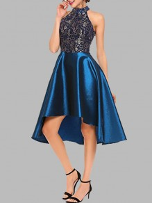 Blue Lace Irregular High-Low Halter Neck Sleeveless Cocktail Party Elegant Midi Dress